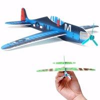 El aeroplano del vuelo de Wholesale-10Pcs DIY planea los juguetes educativos para el regalo de lanzamiento de la mano de los niños Regalo del bolso de la fiesta de Navidad del cumpleaños Multi Color