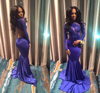 Wholesale Sheer Mermaid Royal Blue African Mermaid Prom Dresses Long Sleeves Backless Illusion Bodice Appliques Lace Cutaway Sides Evening Gowns