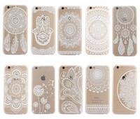 Белых слонов Цены-Хна Белая Цветочная Пейсли Цветочная Мандала Слона Мечта Уловителя ПК Задняя обложка для iPhone 6 7Plus Samsung S7 note6