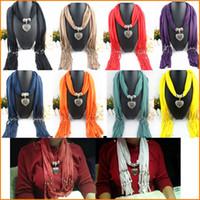 Wholesale Winter Scarf Women Charms Scarfs Water Drop Necklace Pendant Jewelry pendants Scarves