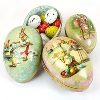Wholesale Mini Easter Egg Shaped Painted Eggshell Trinket Tin Candy Box Iron Boxes Party Decoration Children kids Birthday Wedding Christmas Gifts