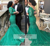Wholesale Mermaid Style Green Lace Wedding Dresses V Neck Applique Beaded Long Sleeve Wedding Bridal Gowns Sexy Fluffy Formal Dress