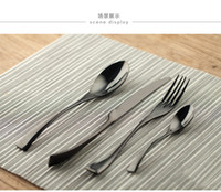 Wholesale Retail Black Cutleries Packages The Stainless Steel Western Tableware Suit Steak Knife Fork Spoon Free DHL