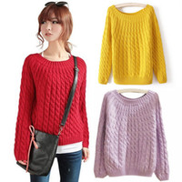 Wholesale Autumn winter Warm Thick Preppy Style Women Sweater Plaid Knitted Long Sleeve Fashion Loose Sweaters and pullovers knitwear