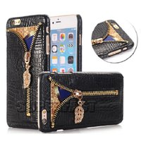 apple crocodiles - For iPhone7 Zipper PU Leather Case For Samsung Note S6 Edge Case Card Slot Case Crocodile Pattern With OPP Package