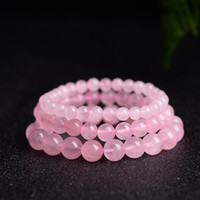 Wholesale Authentic Rose Quartz Pink Beads Bracelets Fashion Crystal Jewlery Accessory Men Women Gifts Casual