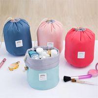 Wholesale 2017 New Korean elegant large capacity Barrel Shaped Nylon Wash Organizer Storage Travel Dresser Pouch Cosmetic Makeup Bag For Women