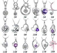 al por mayor collar del corazón zirconia-La joyería pendiente de la alta calidad de los colgantes de la manera del collar de la plata esterlina 925 encanta la joyería cristalina en forma de corazón de la alta calidad de los