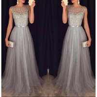 Wholesale Grey Beaded Prom Dresses From China Sexy Sheer Formal Evening Gowns For Women A Line Vestido De Festa