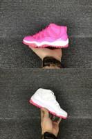 al por mayor venta al por mayor 1.5-Atletismo atlético del baloncesto de los niños de los cabritos RETRO 11 zapatos atún rosado blanco rojo del espacio ató el tamaño al por mayor 28 35 de la zapatilla de deporte de la alta calidad de AAAA