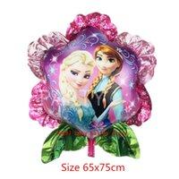 al por mayor globo en forma de bebé-La decoración de la fiesta de cumpleaños de la niña del globo del helio del papel de la forma de la flor de la princesa de Elsa de la historieta de 20pcs 65x75cm suministra los regalos clásicos