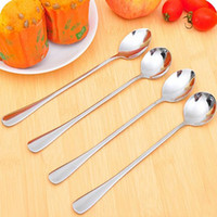 Wholesale 10 Long Handle Stainless Steel Tea Coffee Spoon Cocktail Ice Cream Soup Spoons Cutlery X5S