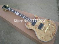 archtop guitars - Custom High quality gold Electric Guitar Semi Hollow Body Archtop Guitar Natural color Spalted Maple Top Real photo showing