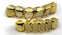 Wholesale GOLD PLATED COPPER GRILLZ TOP BOTTOM HIPHOP TEETH GRILL SET With silicone fashion Vampire teeth Party Gifts