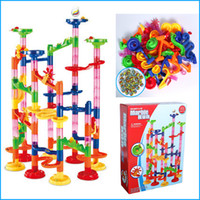 baby toy ball track - 105Pcs Marble Race Deluxe DIY Construction Marble Race Run Play Set Maze Balls Track Building Blocks Toy Baby Kid Gifts