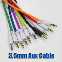 Wholesale 2016 Braided AUX mm Stereo Auxiliary Car Audio Cable Male to Male for iPhone Samsung Galaxy S7 PDA ipad MP3