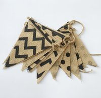 Wholesale Long Pennant Bunting Banner Jute Burlap Flags for Wedding Baby Shower Birthday Party Decoration Photo Props Events Supplies
