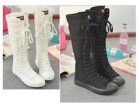 Оптовые-Бесплатная доставка Горячие продажи дамы Девушки Холст Boots Женщины Повседневная обувь Vintage Knee Высокая кроссовки Мода Причинная обувь Готические шнурки деятельности