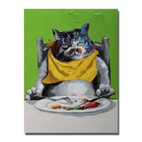 animal fat oil - Handrwing fat dog wall art painting home goods wall decor cartoon animal oil paintng large size cheap canvas art