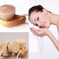 Wholesale Deep Cleansing Face Clean Soft Mild Fiber Wash Pore Facial Care Brush Wood Hot M02247