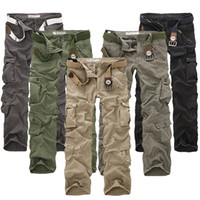 Wholesale 2017 New sell like hot cakes casual multi pocket overalls pants male long trousers plus size pants Cargo Camo Combat Work Pants Trousers