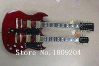Venta al por mayor-caliente vendiendo 6 cuerdas y 12 cuerdas de doble cuello g tienda personalizada SG guitarra eléctrica en color rojo