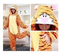 Unisex animated pajamas - Women pajamas tigger stripe with hood animated cartoon cosplay lovely for men and women pajamas onesie
