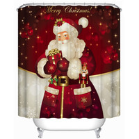Wholesale Quality Christmas Gift Polyester Shower Curtains Santa Claus Christmas Tree Snowman Reindeer Printed Washable with Plastic Hooks x71
