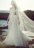 al por mayor zuhair murad con cuentas-3D floras rebordeado Dubai vestidos de novia 2017 zuhair murad vestido nupcial de los hombros sin tirantes escote vestidos de novia chaple tren