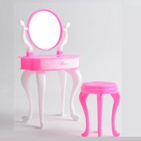 bedroom dressing tables - Doll Accessories Doll Furniture For Doll Furniture Dresser Dressing Table Make Up Mirror Chair Set Bedroom Dollhouse Girls Toys