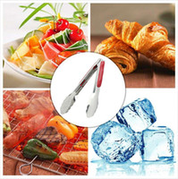 Wholesale 9 inch Stainless Steel BBQ Bread Food Ice Clamp Tong Clip Quality Outdoor Barbecue BBQ Picnic KichenTools for Travel Picnic Portable
