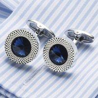 Wholesale VAGULA Sea Blue Crystal Cuff links Top Quality Lawyer Groom Wedding Cufflinks Shirt Cuffs Para Camisas Gemelos