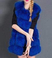 Wholesale New Women s Warm Gilet Outwear Long Slim Vest Faux Fox Fur Waistcoat Jacket Coat S XXXL drop shipping