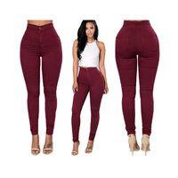 Wholesale Sexy Women Trousers Fashion High Waisted Jeans Soft Skinny Stretchy Pant Slim Bodycon Blue Leggings Plus Size Cotton XXXL Pencil Pants F1077