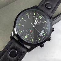 Tous les Subdials Working Pilot Montre de Luxe Montres Hommes Montre Chronographe Top Bracelet en Cuir Montre Quartz pour hommes relojes cadeau Livraison gratuite