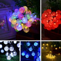 Wholesale 6M LED Crystal Ball Solar Powered Light Red Yellow Colorful Blue String Light For Garden Party Christmas Decorative Light Strings PPA670