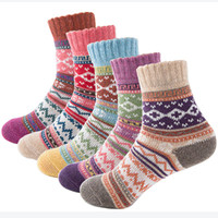 acrylic literature - Autumn Winter Thick Warm Womens Socks Lovely Sweet Classic Colorful Multi Pattern Wool Blends Literature Art Style Cashmere Sock