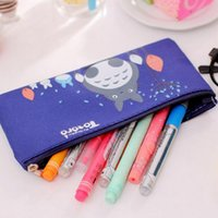 Wholesale Colors Kawaii Cartoon Totoro Cute Pencil Case Large Pencil Bag For Kids School Supplies Material Stationery For Children Gift