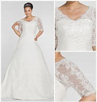 Wholesale Plus Size A Line V Neck Satin Long Wedding Dresses V Back Pleats Beaded Appliques Sheer Half Sleeves Sweep Train Bridal Dresses