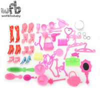 Birth-12 months best toy mirror - 50pieces Fashion Colorful Doll Accessories Heels Sandals Best Gift For Girl Mirror Hand bag Headwear Cup Comb