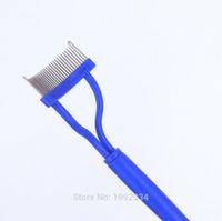Wholesale LASH COMB Pink plastic handle Stainless steel needle eyelash comb good use Eyebrow Shaper
