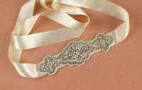 Wholesale High Quality Bridal Wedding Sash Rhinestones Bridal Belts Bridal Accessory Satin Belt for Prom Evening Wedding Dresses