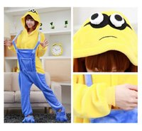 animated pajamas - Flannel pajamas cute cosplay little yellow people animated cartoon conjoined pajamas couples home leisure party