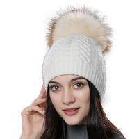 big fluffy hats - Winter women s hat knitted wool beanies big fluffy raccoon fur pompom hat solid colors ski gorros cap outdoor causal skullies