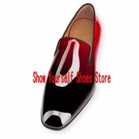 photos de robe rouge achat en gros de-Dandelion Red Bottom Flats Black Patent Leather Chaussure Femme Chaussures Hommes Hommes Chaussures Chaussures Chaussures Homme Real Pics Taille 46