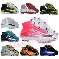 Wholesale mens high ankle Football Boots CR7 Mercurial X Superfly V Soccer Shoes ACC magista Obra II FG AG Soccer Cleats NJR Hypervenom