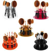 Wholesale 5 Colors MAANGE PMMA Plastic Hole Oval Toothbrush Makeup Brush Holder Rack Organizer Cosmetic Display Shelf Tool
