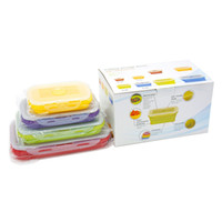 Wholesale Potable set Foldable Silicone Lunch Boxes Four Size Lunch Food Storage Containers Household Food Fruits HolderTrip Portable Houseware
