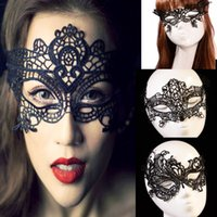 Wholesale Sexy Lace Mask Halloween Masquerade Venetian Party Half Face Mask Festival Christmas Bar Clube Stage Show Black Mask MJ001