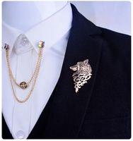 Celtic Men's Gold Wholesale- 2 PCS Men Gold Silver Wolf Lion Women Broaches Hijab Pins Retro Lapel Pins Brooch For Women Men Suit Fashion Accessories